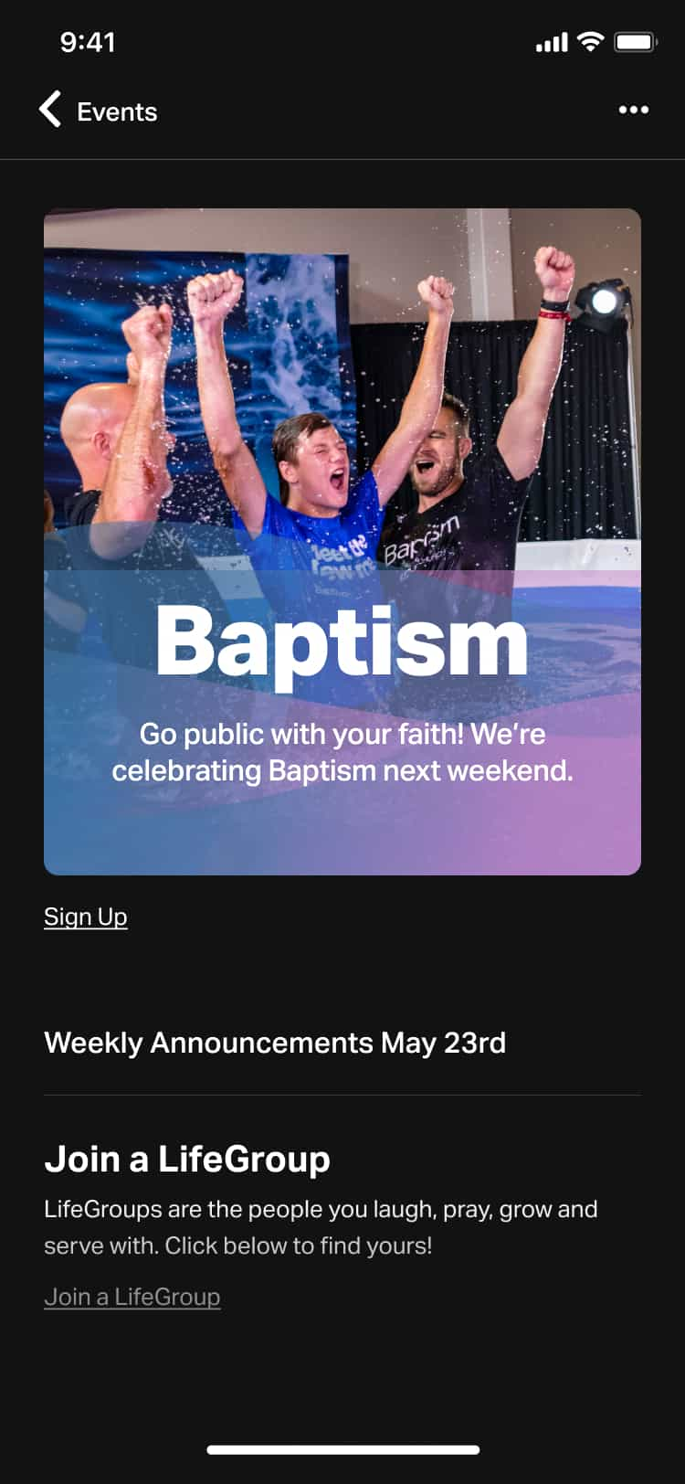 YouVersion Events baptism