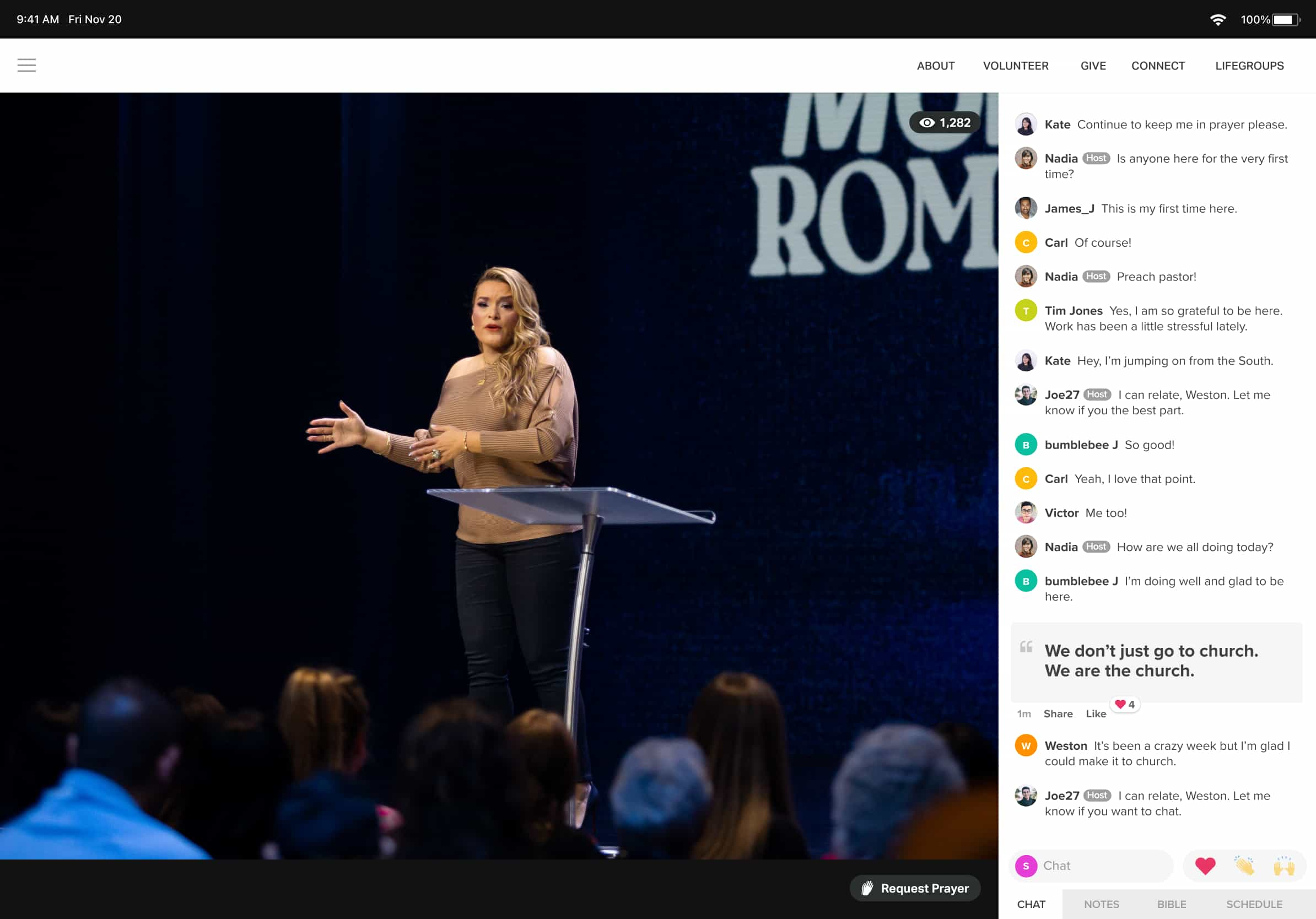 Church Online Platform live chat