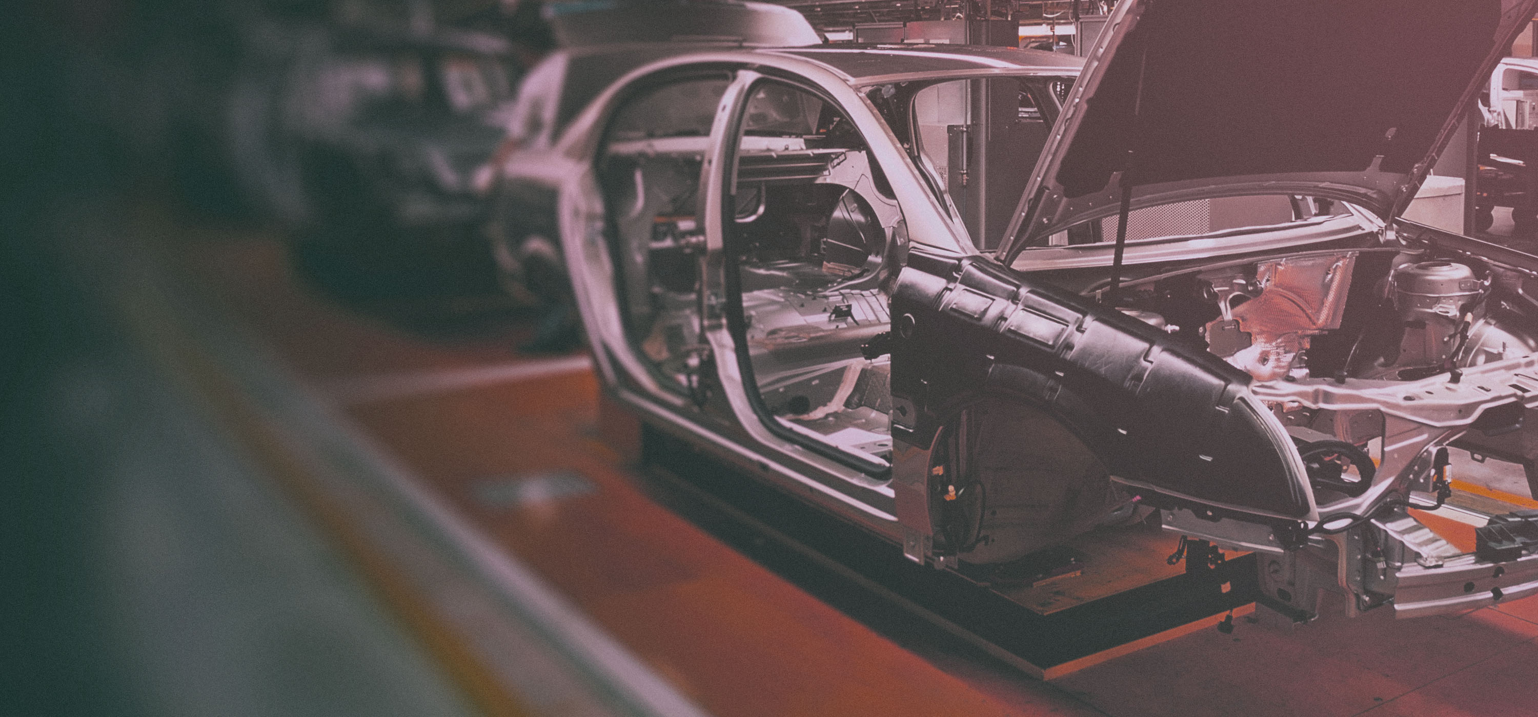 Automotive Manufacturing: Car body on a production line