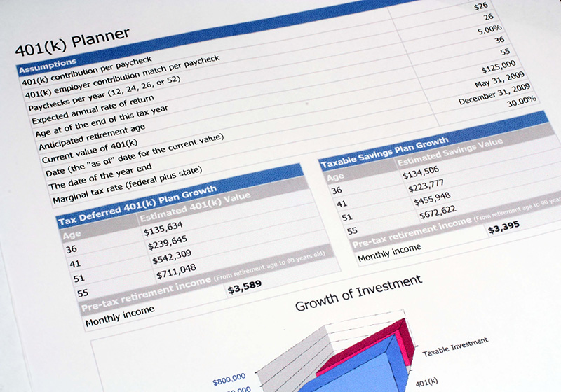 close up image of a 401K Planner document