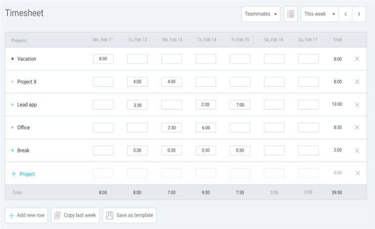 manual timesheet app