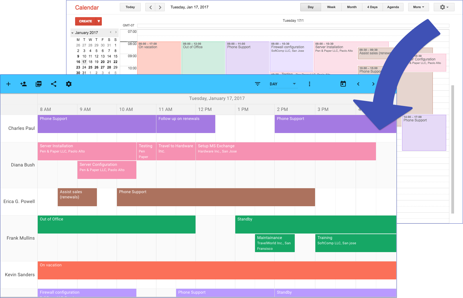 TeamCal – Google Calendar's missing schedule view