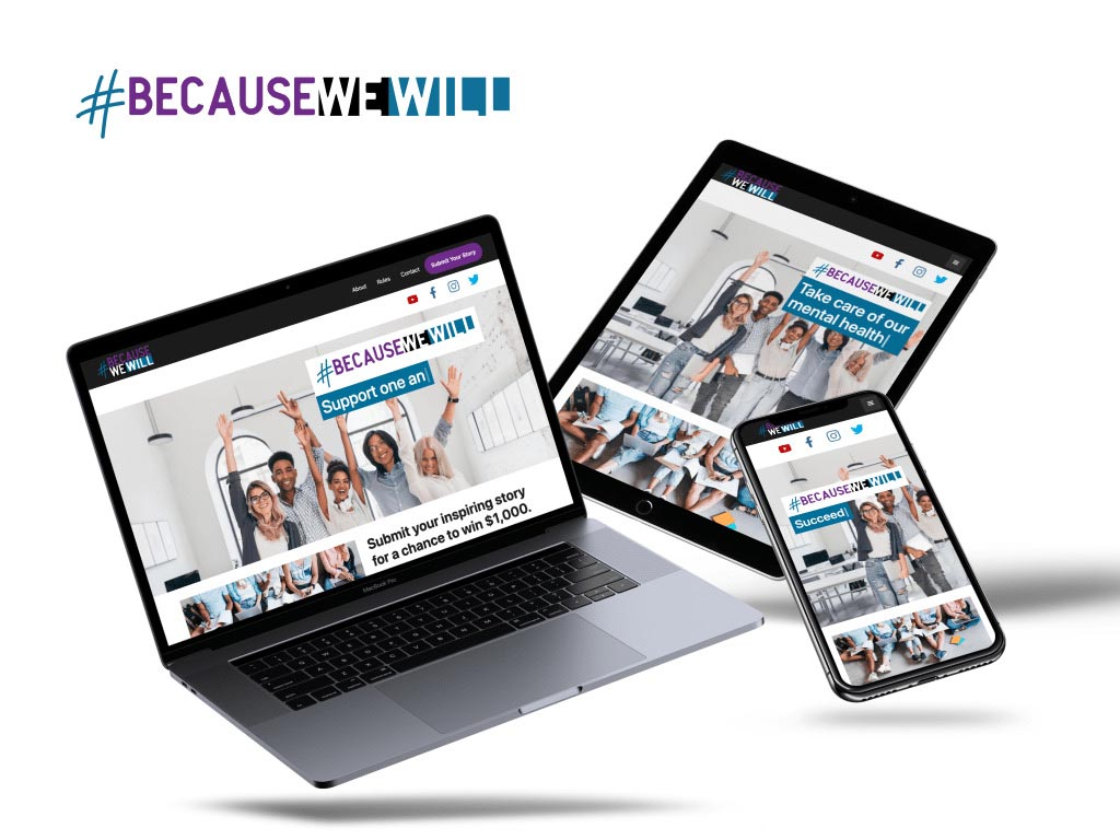 BecauseWeWill's website on a desktop, tablet, and mobile device
