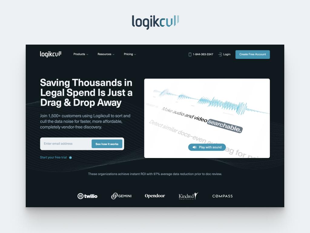 Homepage mockup for Logikcull website