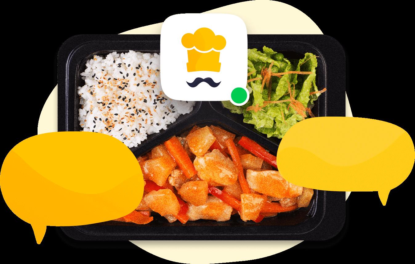 Lunchbox z dymkami chatu oraz ikona dostępny online sugerujący obsługę klienta.
