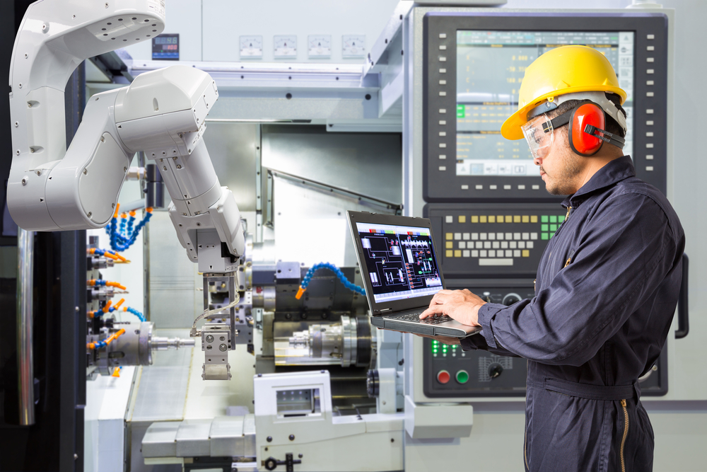 A picture of machinery being monitored in real time on a computer