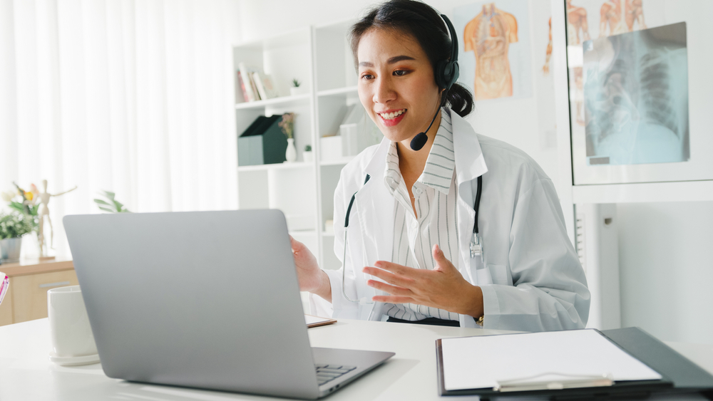 A picture of a doctor having a telehealth appointment