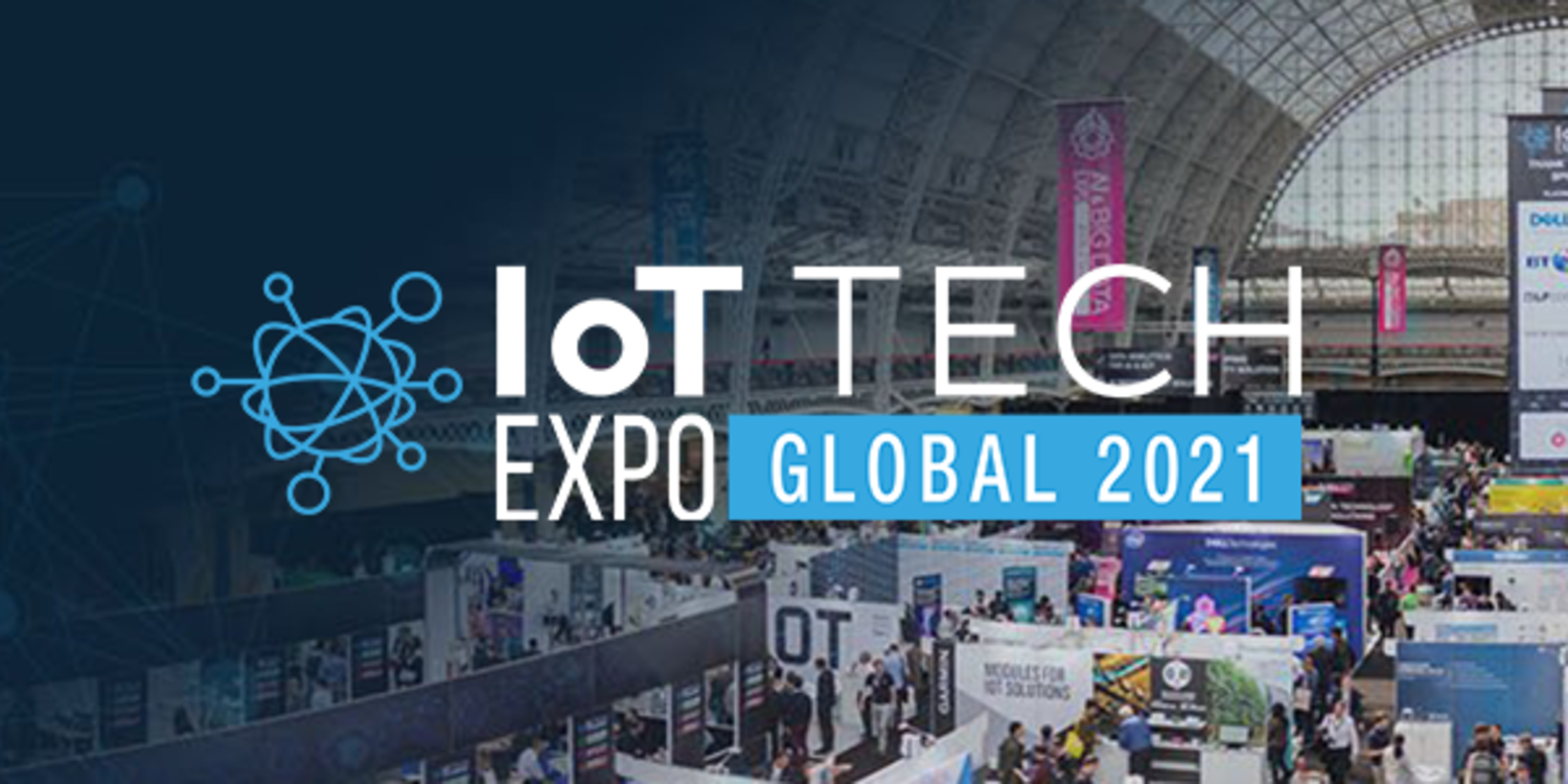 An overhead picture of the IoT Tech Expo Global 2021 banner