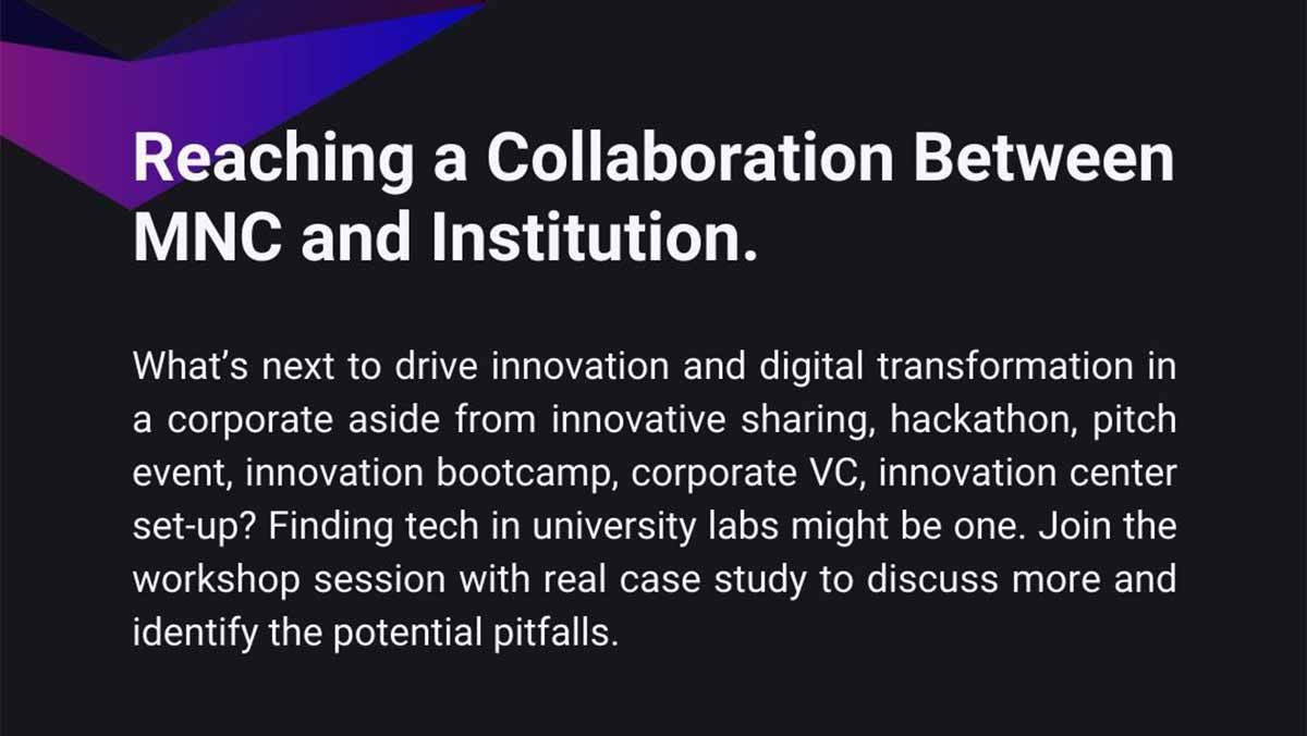 大企业与机构的创新合作 @TECOM Conf