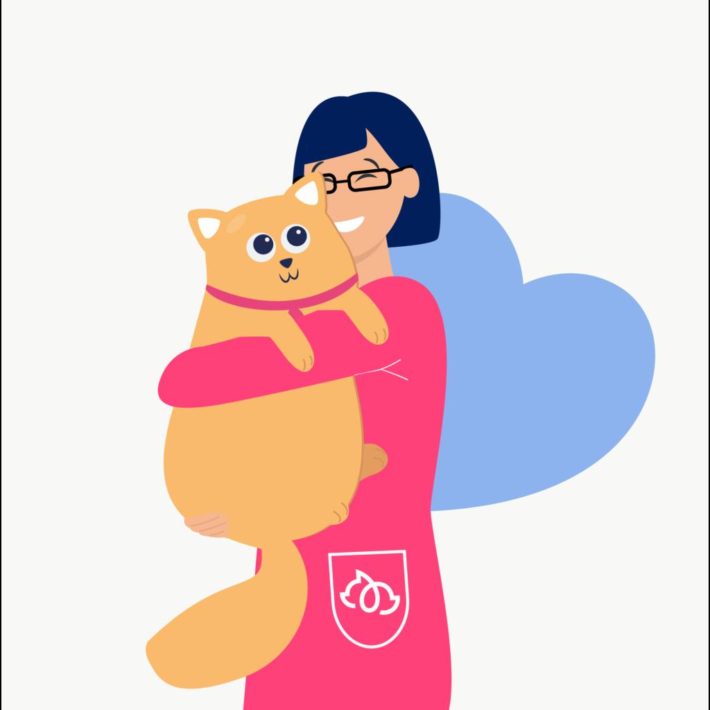 Vet hugging cat illustration.