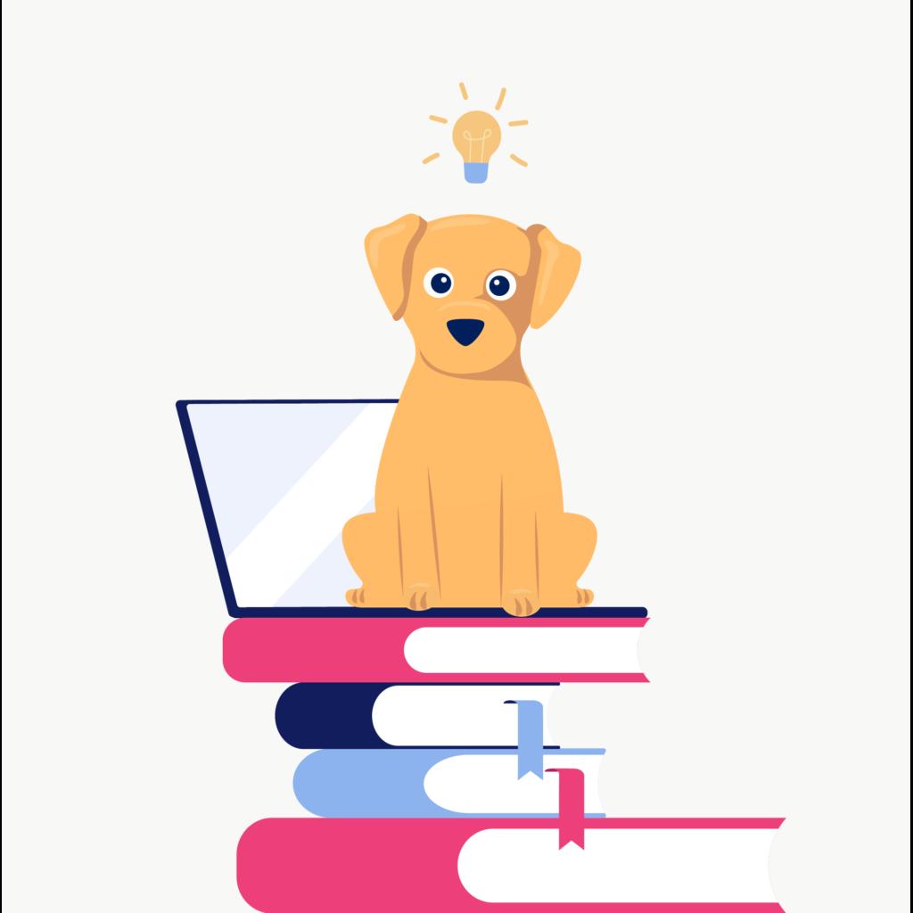 Dog sitting on a laptop illustration.