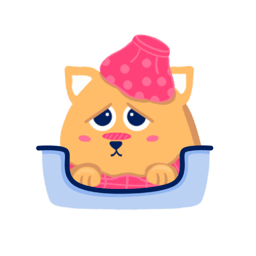 A sick little cat illustration.