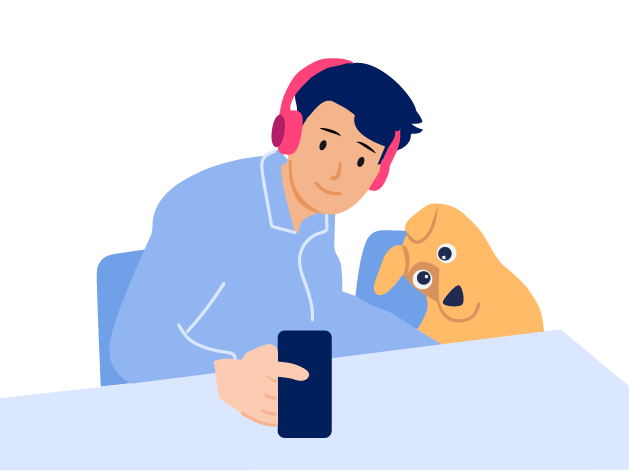 Owner and his dog in a video consultation.