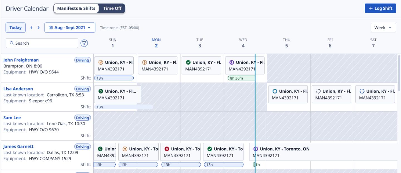 Calendar for drivers app screenshot
