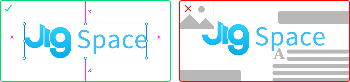 An image showing there should be appropriate space around logo.