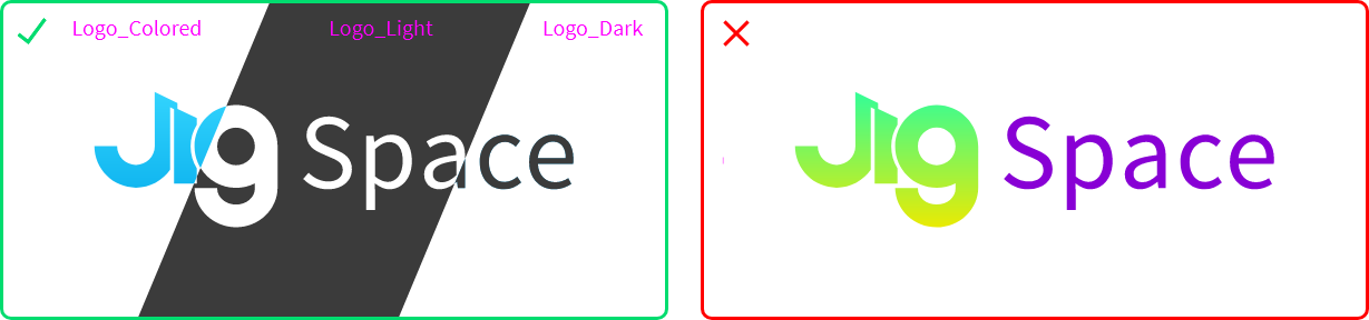 An image showing colored logo, light logo and dark logo. Do not re-color the logo.
