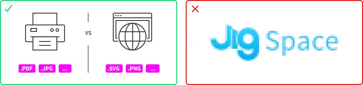 Images showing PDF, JPG etc, for print. SVG, PNG etc, for web.