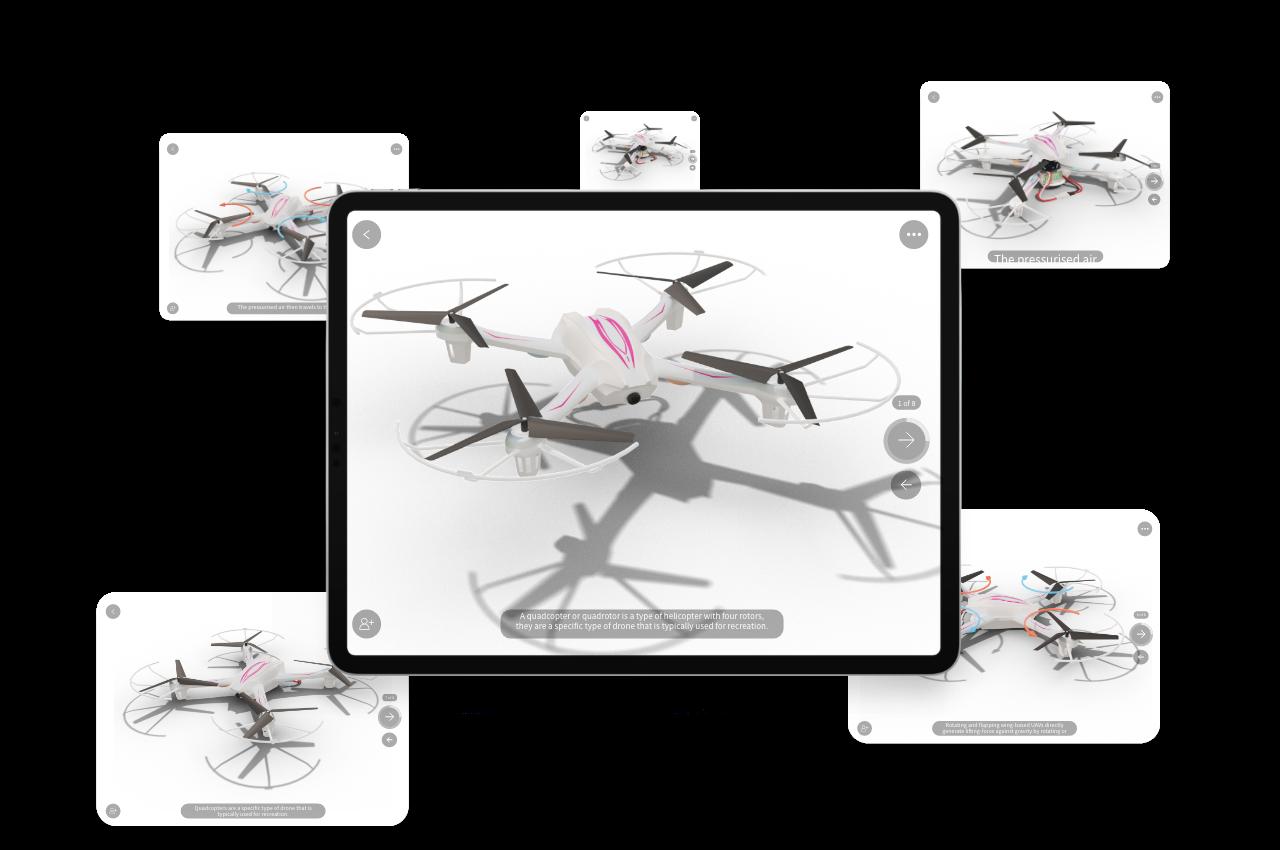 Drone presentation in JigSpace App on tablet device.