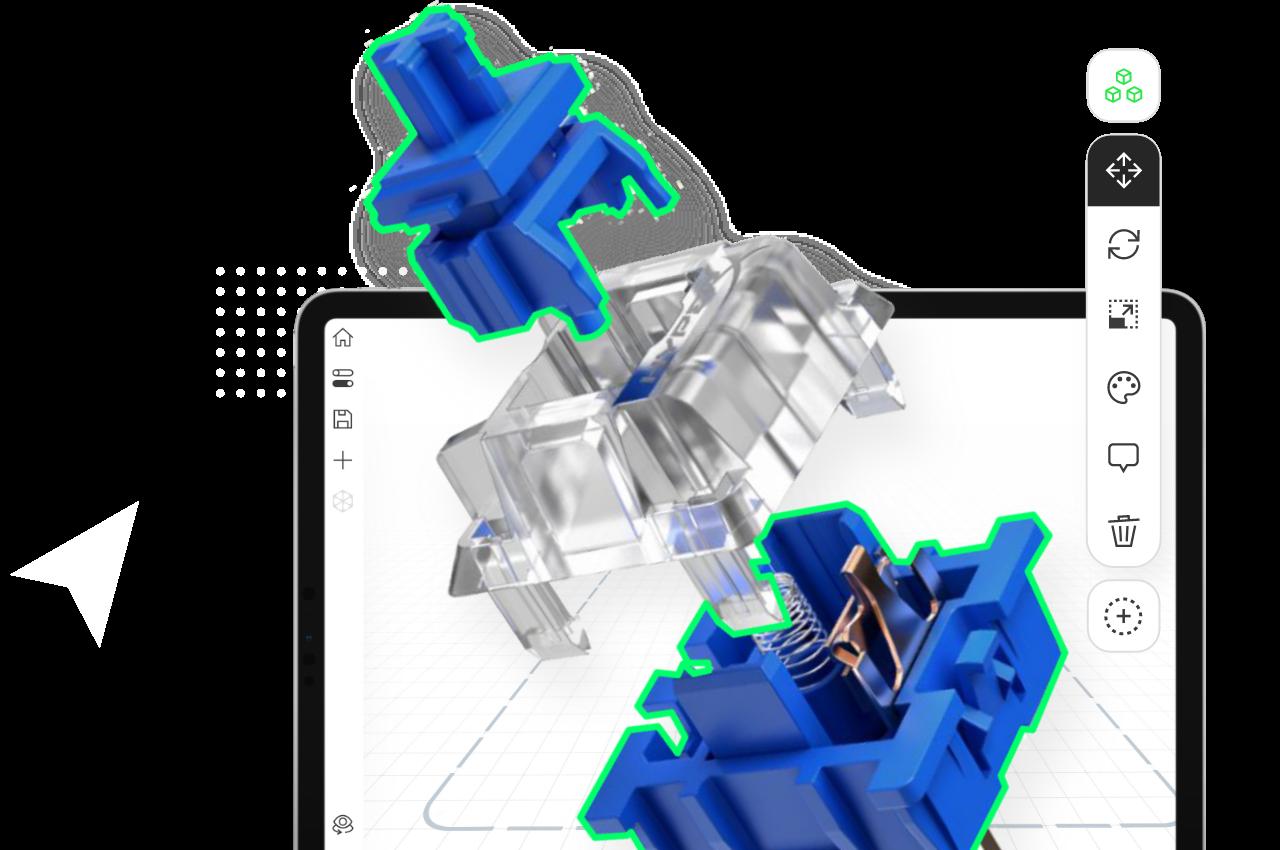 A mechanical parts model in Jig Pro app.