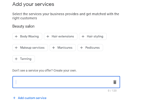 adding services to your listing is a great way to drive more customers to your salon with google business