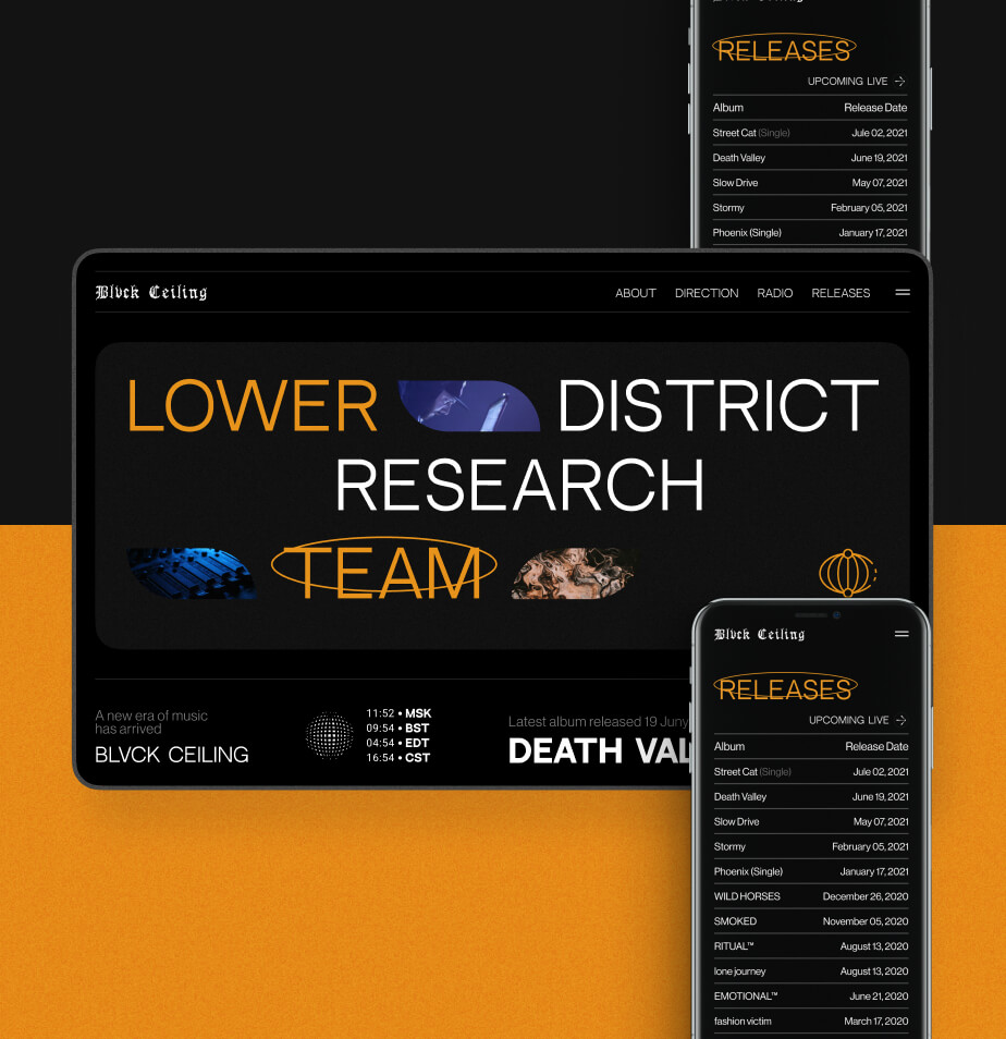 BLVCK CEILING Web Design, UX/UI design case, concept