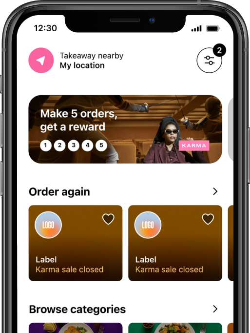 Phone running the Karma App