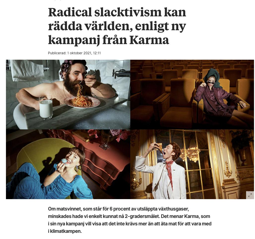 [Swedish] Radical slacktivism kan rädda världen, enligt ny kampanj från Karma