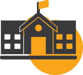 A school building icon.