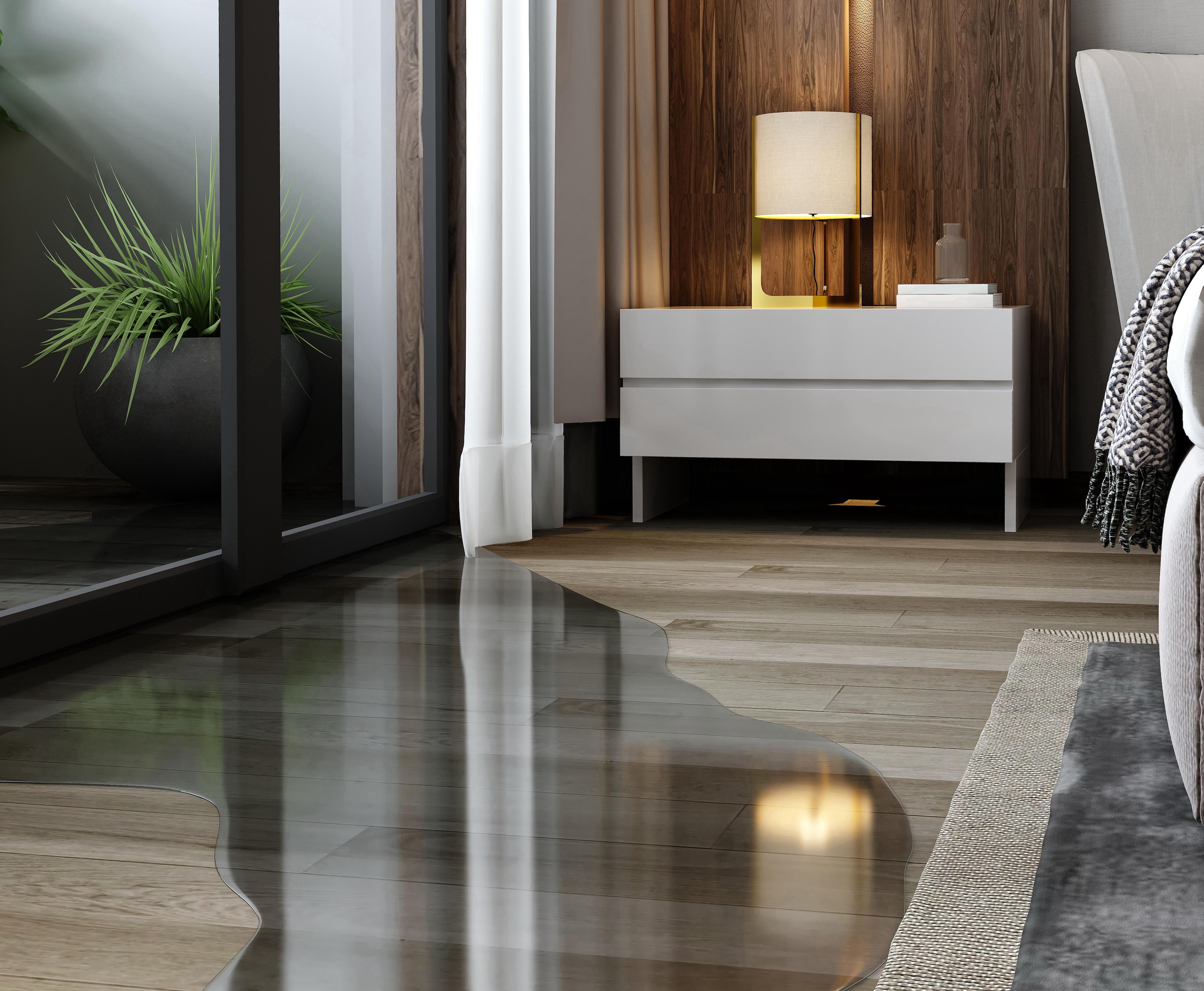 water on a wooden floor