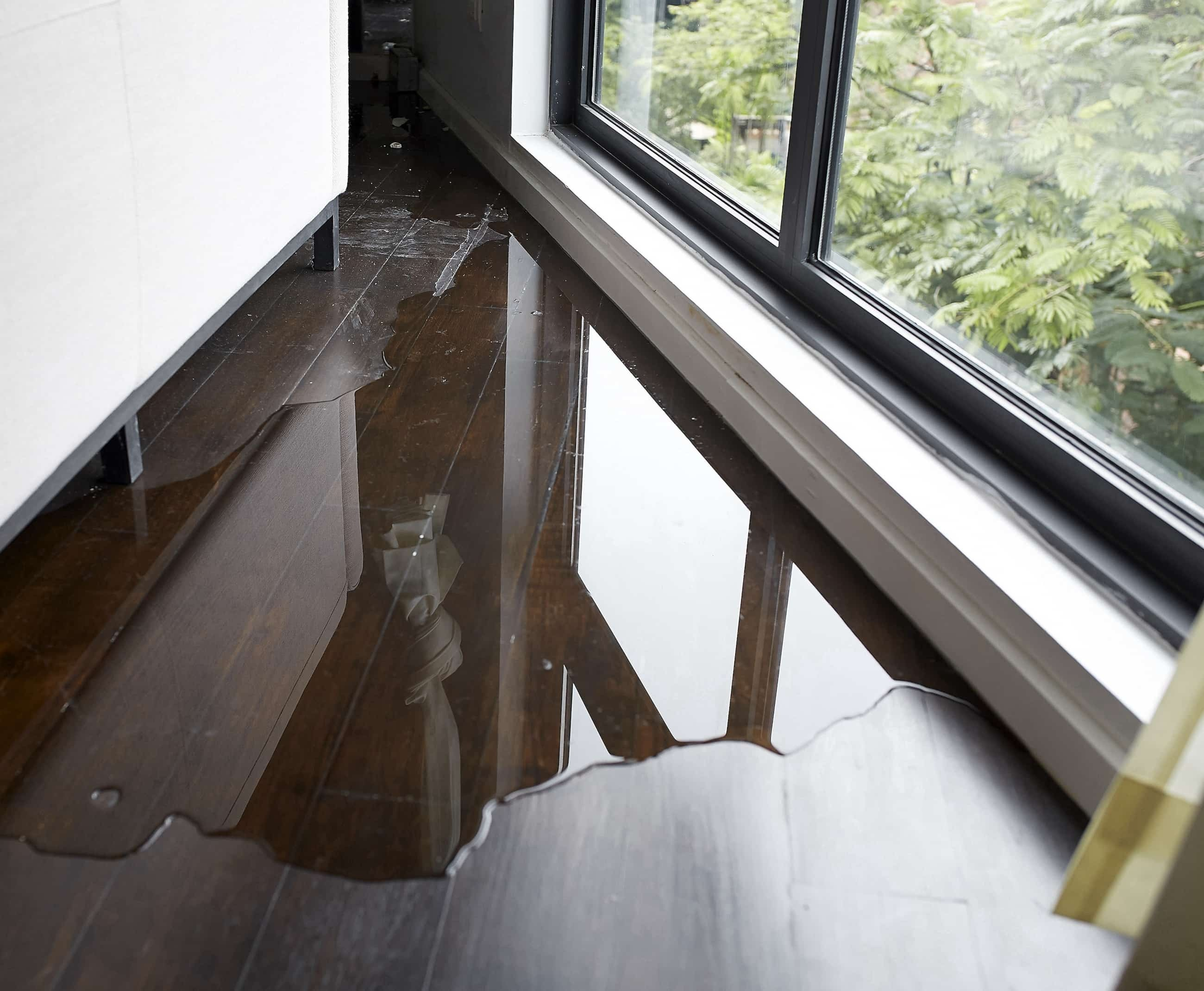 water damage on a wooden floor