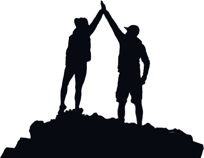 silhouette of two people highfiving