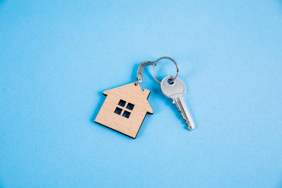 Illinois Rental Assistance Program - key and house shaped keyring