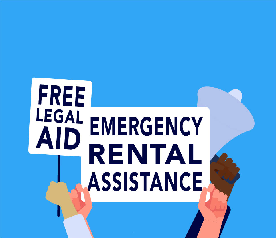 """Image with """"Free legal aid"""" and """"Emergency Rental Assistance"""" text."""