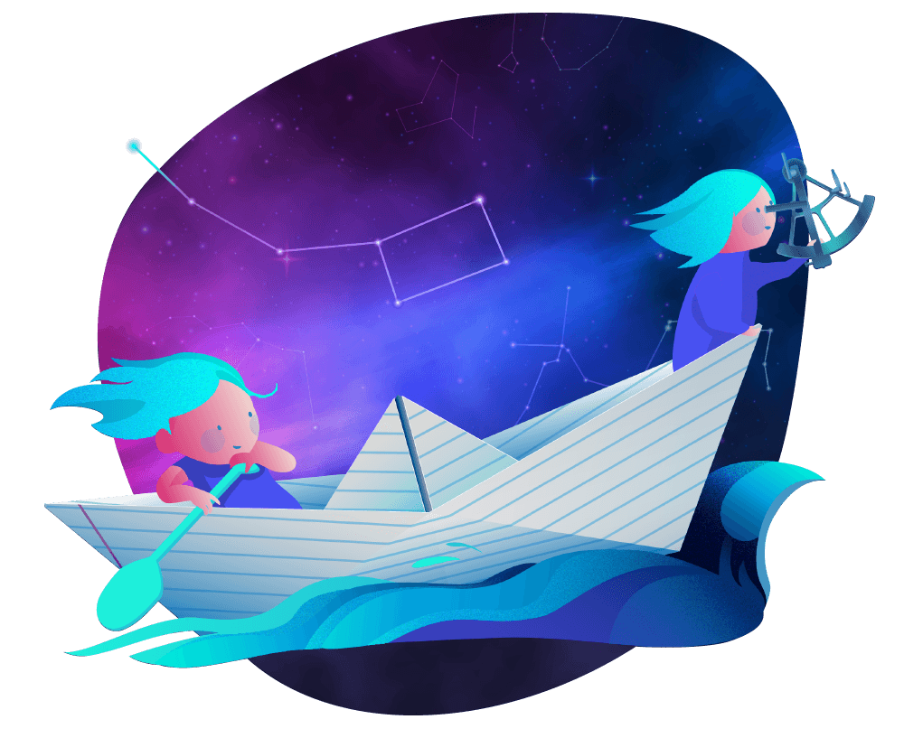 Two explorers on a ship under stars