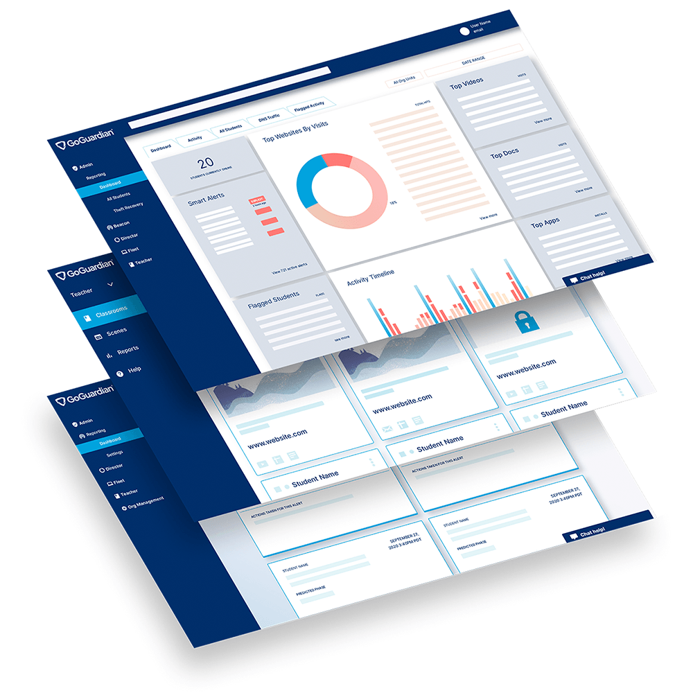 Stack of 3 GoGuardian product UI screens