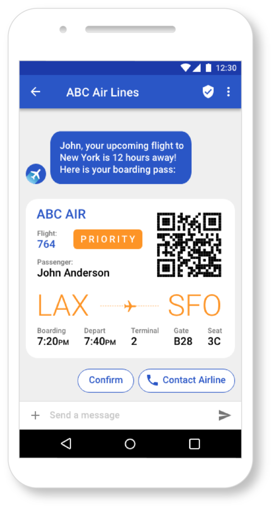 RCS message with airline ticket on the phone
