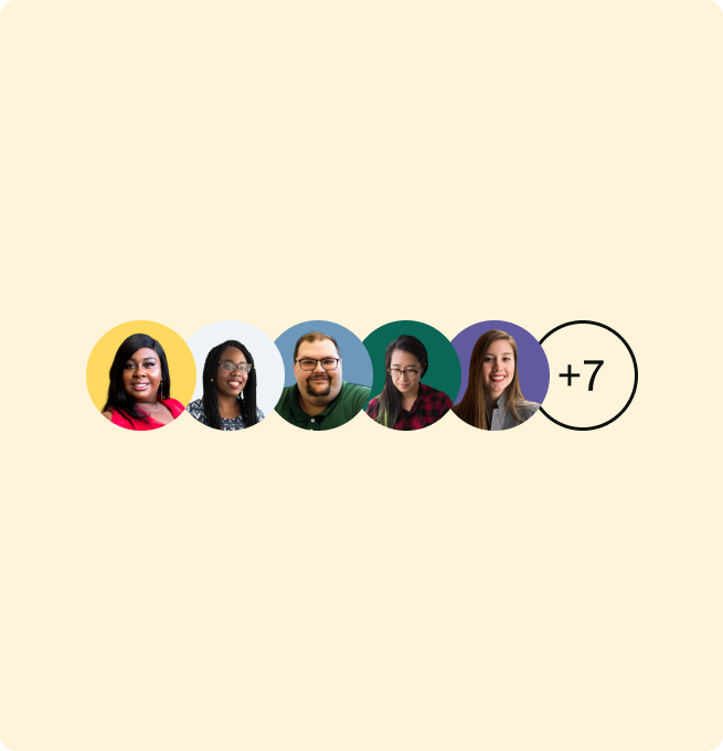 5 Team profile pictures in a row with a +7 indicator too to illustrate collaboration in Avrio.