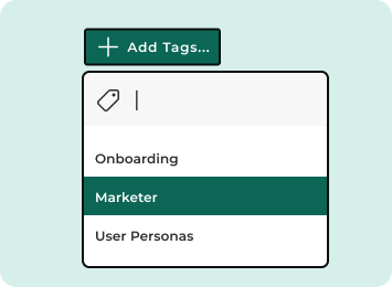 Avrio UI showing tags input