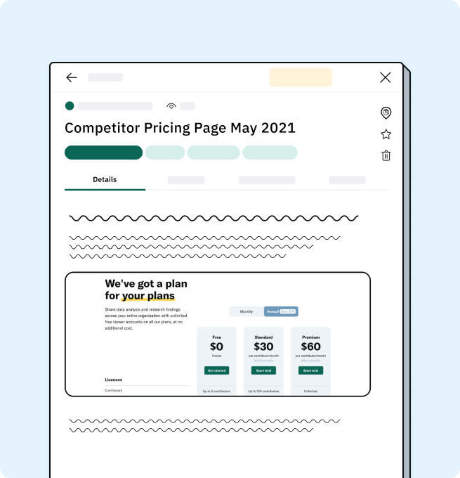 Insight showing screenshot of competitors pricing page.