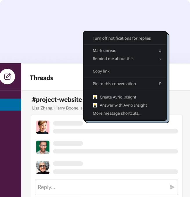 Showing slack thread with app to create insight or answer question with an Insight