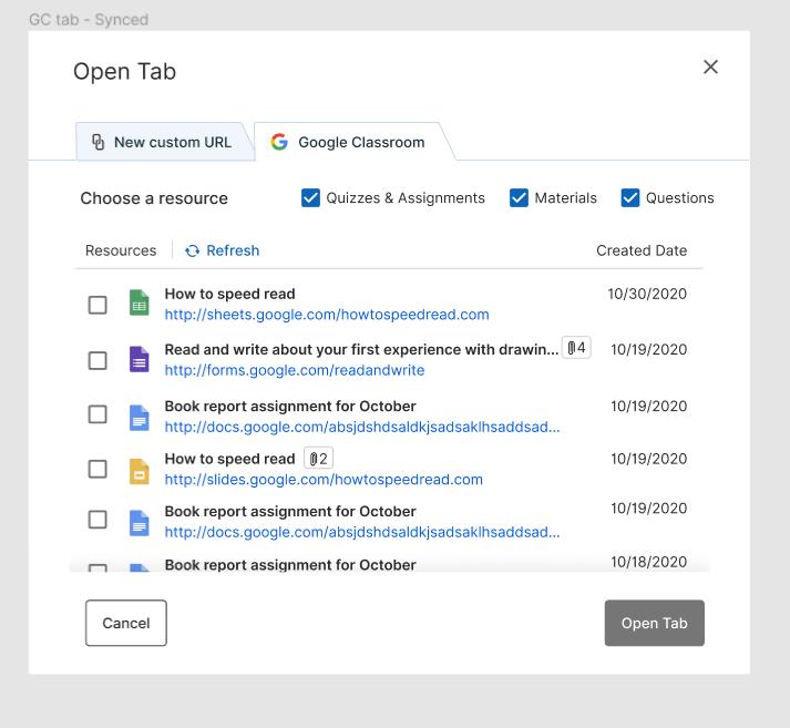 Open Tabs Google Classroom