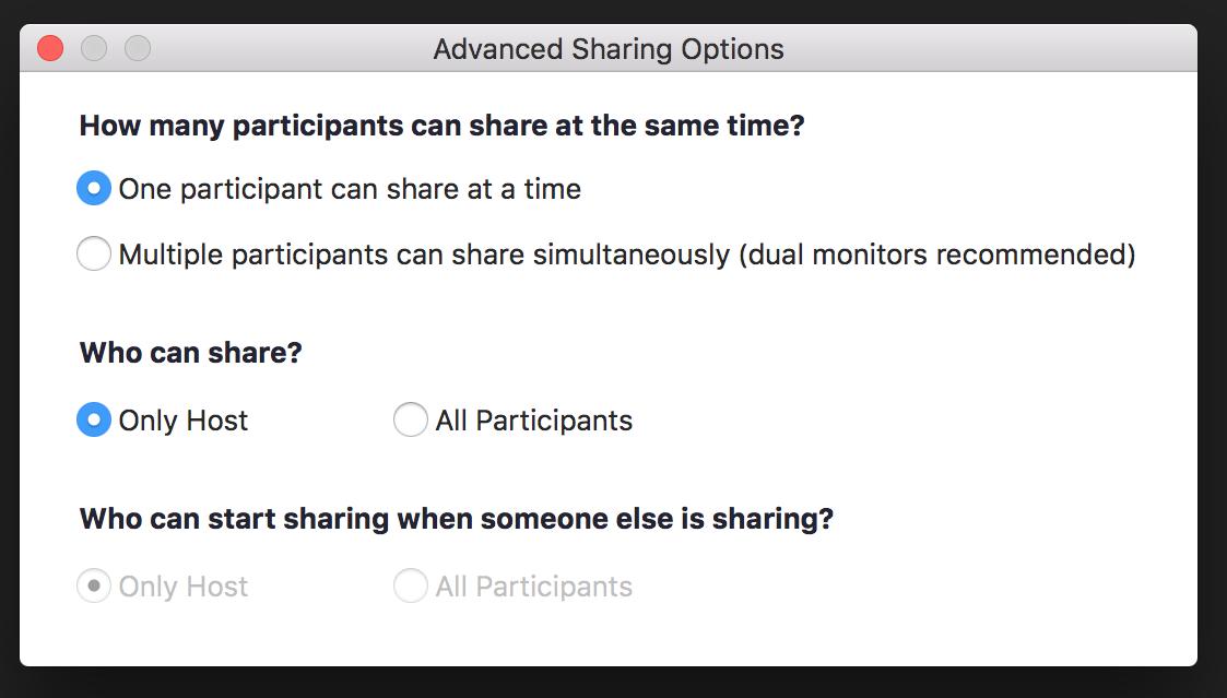 Zoom - advanced sharing options