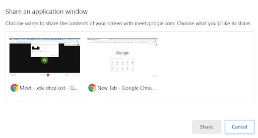 Google Hangout - Share an application window