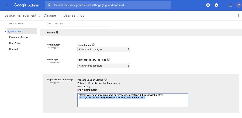 GAC Chrome User Settings