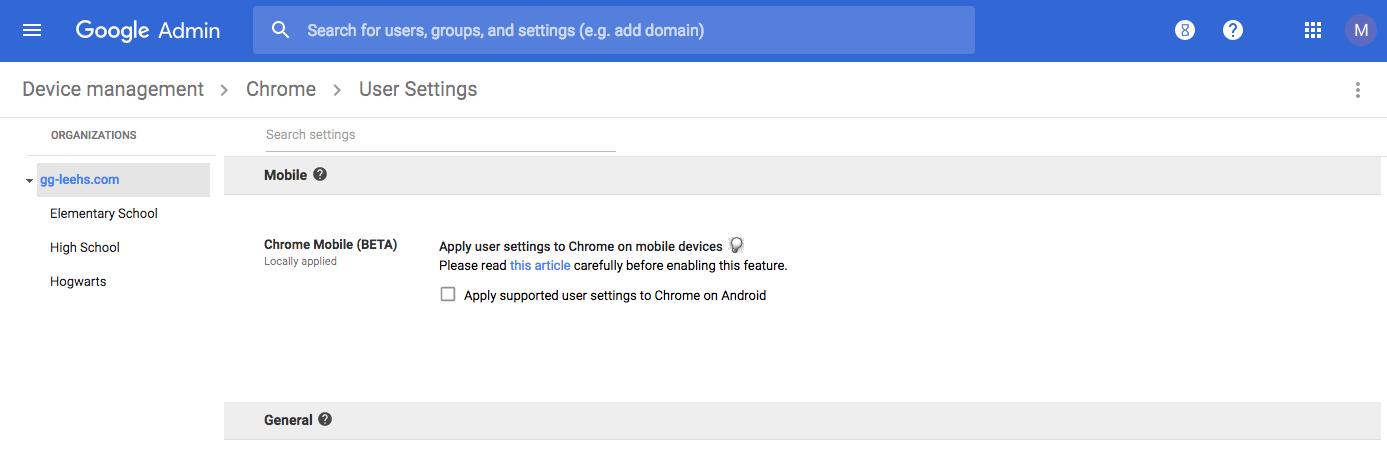 Chrome User Settings (Mobile) GAC
