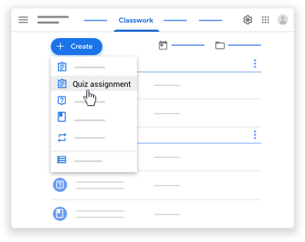 Google classroom - quiz assignment