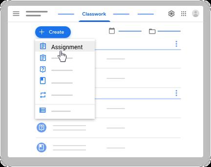 Google classroom - create assignment
