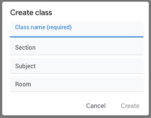 Google classroom - create class name
