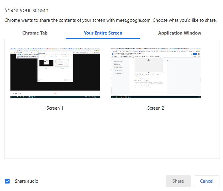 Google Hangout Screen Share