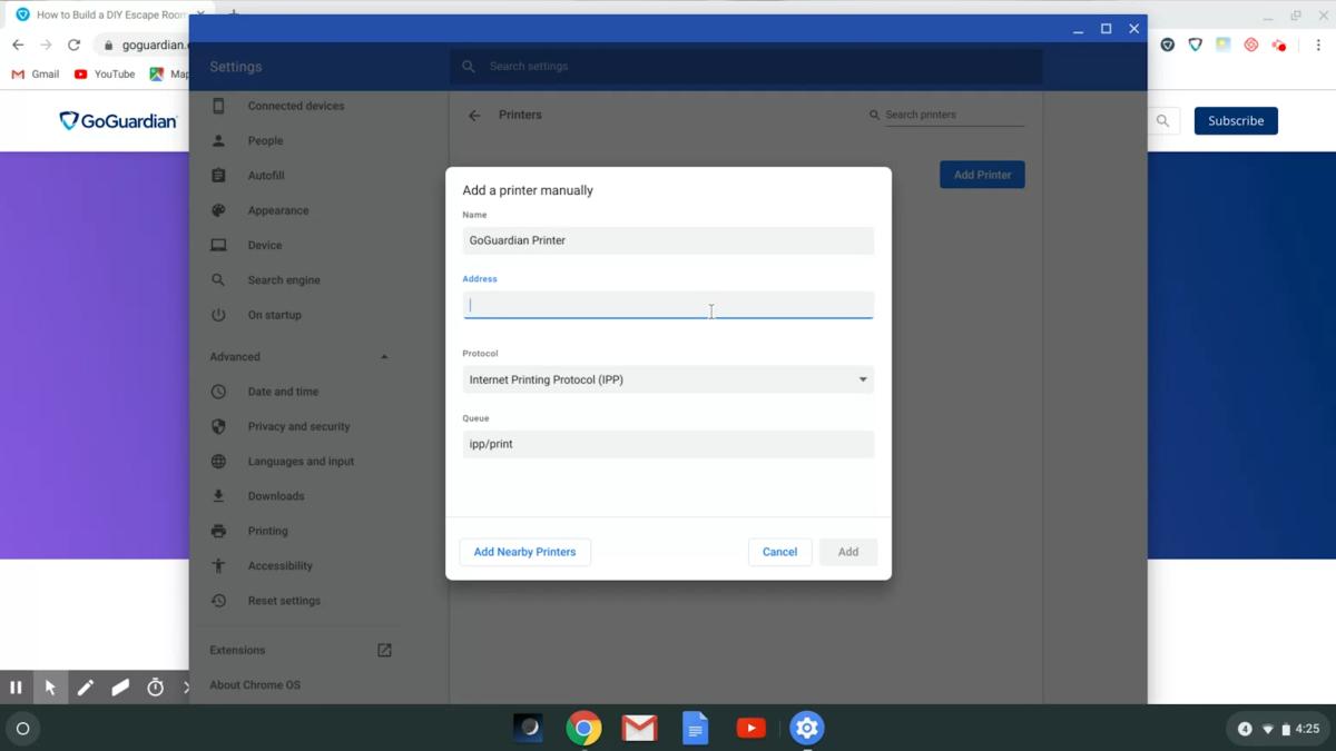 Chromebook Printing --> IP Address